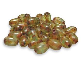 Czech Picasso Beads 4x6mm Muddy Green Picasso Oval Beads 30pcs (786) Czech Glass Beads