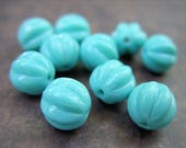 Turquoise Robin's Egg Blue Melon-Shaped Beads - 8MM - Quantity 10