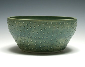 Green Pottery Bowl, Matte Green Bowl, Medium Bowl, Home Decor, Handmade Ceramics