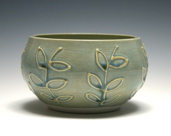 Small Ceramic Bowl, Jewelry Holder, Ocean Blue Bowl, Home Decor, Handmade Pottery, Leaf and Branch Design