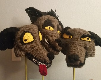 Crochet Hyena Hats - Choose from Banzai, Shenzi, or Ed - Cartoon Costume Hat - Lion King - Silly and Chunky Crochet Hat