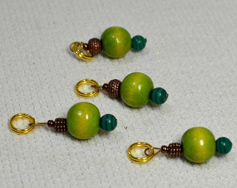 NEW Fun Stitch Markers - Dress Up Your Knitting! Green and Bronze Beads - Fits up to size 9 US needle