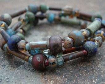 three stretch bead bracelets, czech glass bead bracelet, beaded bracelet