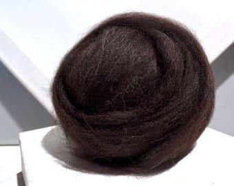 Brown Wool Roving, Needle Felting Fiber, brown Wool, dark brown roving, Shetland, w/ 3 free samples, core wool, natural color