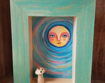 Sun Dreamer / Mixed Media Shadow Box Painting