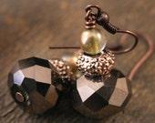 SALE fall sparkle antique copper handmade earrings