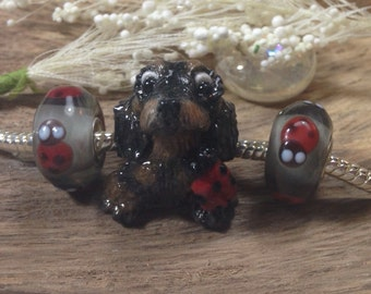 Dachshund Datsy Doxie Little Toes with Ladybug Polymer Clay Nanjodogz European Dog Charm - with two matching ladybug beads/charms