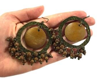 BIG 70s Tribal Dangle Earrings / Vintage 1970s Hammered Brass & Wood Bead Earrings / Oversize Pierced Hippie Boho Artisan Fringe Chandelier