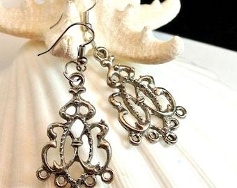 Silver Tone Earring Vintage Earrings Dangle Earrings 1980 Silver Earrings Costume Jewelry Free Shipping In USA