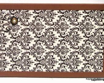 Brown Damask Framed Corkboard Cork Bulletin Board,17x11 Tack Board, Cork Pin Board Brown Frame Cork Board Cork Message Board