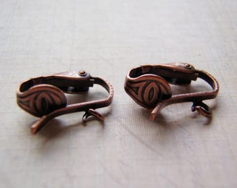 Clip On Ear Wires Antique Copper Pierced Look One Pair (Two Pieces)