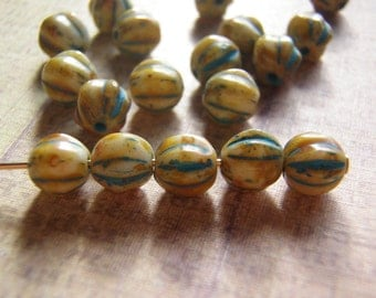 Melon Glass Beads 6 mm Round Ivory with Turquoise Finish 10 Beads