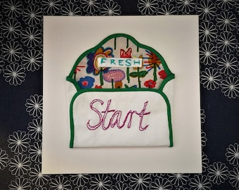 Textile Picture, Embroidered Envelope, Hand Embroidery 'FRESH START' Written Embroidery, Textile Art, Textile Collage, Emotional Art
