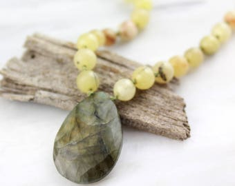 Yellow Opal and Labradorite Long Silver Necklace