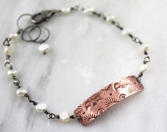 Stamped Copper and Freshwater Pearl Oxidized Silver Bracelet