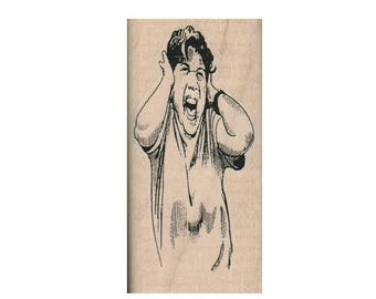 Rubber stamp Lady Screaming Head face humor    wood mounted unmounted, cling  rubber stamp scrapbooking supplies  no4412
