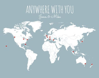 Mother's Day Gift for Wife, Girlfriend Gift, Husband Gift, Gift for Boyfriend, Personalized World Travel Map, DIY Art Print