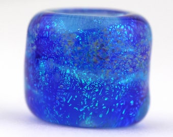 Dread Bead, SAPPHIRE BLUE, Worry Stone, dreadlock bead, glass dread bead, hair bead, dread accessories, lampwork bead, 8mm hole size,
