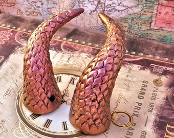 Copper Fire Dragonscale Costume Horns - Made to Order