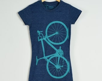 WOMENS BIKE Tee SMALL 50-50 t-shirt, Lapis on Heather Navy, S