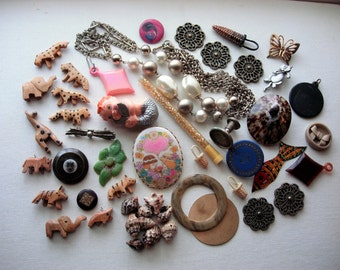 Craft Lot of Various Broken and Unbroken Vintage Jewelry-Beads-Supplies