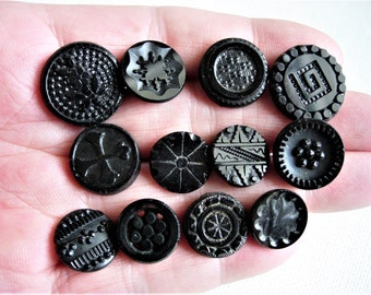 Lovely Lot of Various Antique/Vintage Fancy Black Glass Buttons