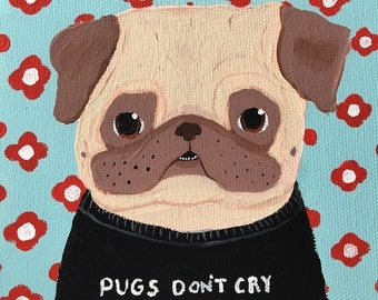 Funny Animal Art, Pug Art, Pug Painting, Quirky Pug Gifts, Gifts for Him, Anniversary Gifts for Boyfriend, Unique Wall Art, Dog Lover Gift