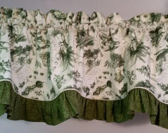 Spring valances vegetable print with your choice of ruffle color
