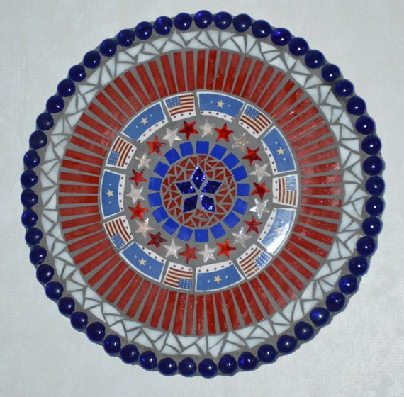 Mosaic Mixed Media Plaque Red White And Blue Flags