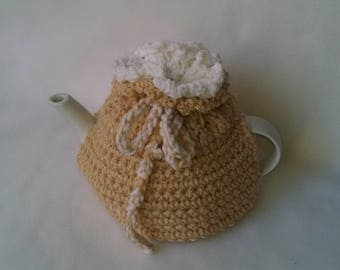 Reversible two color teapot cozy tea cosy, tea accessories - medium in tan and white acrylic yarn