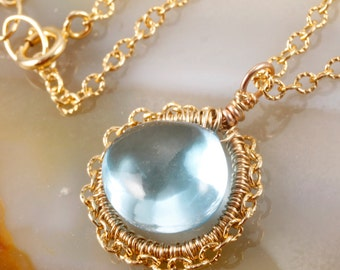 FINAL SALE - Swiss Blue Topaz Wire Wrapped Pendant