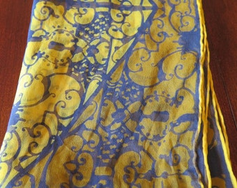 Vintage Vera Neumann Rectangle Sheer Silk Scarf Ironwork Scrollwork Ladybug Signature