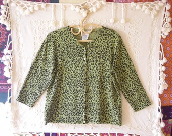 Vintage 80s White Stag Neon Green Leopard Print Cardigan Sweater L (12/14)