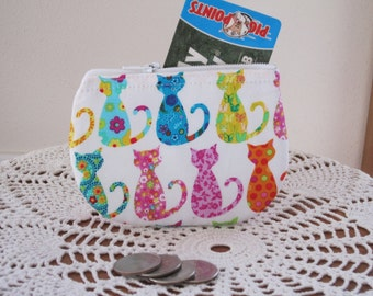 Colorful Cats Card Clutch Zipper Small Essential Oils Case Gift Card Holder in  Made in the USA