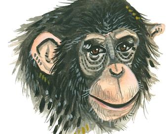 Chimpanzee - Print of an Original Watercolor Painting