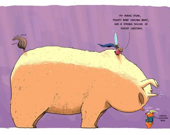 Hero Princess Bear and Her Mighty Baby Unicorn Duck vs. Cheetoh Voldemort Bear Print