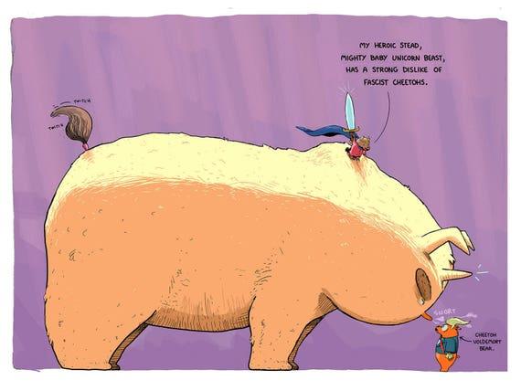 Hero Princess Bear And Her Mighty Baby Unicorn Duck Vs