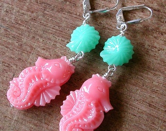 Seahorse Earrings Synthetic Coral Seahorse and Seashell Earrings Pink and Blue Dangles Silver Leverback Hooks Wire Wrapped