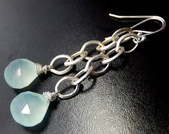 Mint Green Chalcedony Earrings, Long Chain Sterling Silver Teardrop Dangles