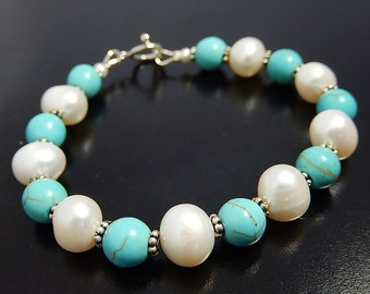 Turquoise Pearl Bracelet, Blue Bracelet, Magnesite, Sterling Silver Jewelry