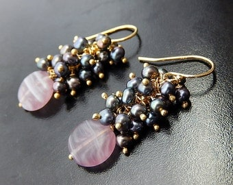 Gold Pearl Earrings, Charcoal Clusters, Purple Glass Drops, Oil Slick Vermeil Dangles