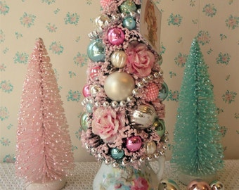Shabby Bottle Brush Tree - PINK ROSES - Vintage Cream Pitcher   OOAK!