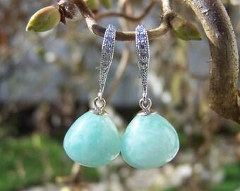 Amazonite onion full briolette, sterling silver dangle earrings
