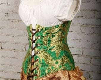 SALE Waist 39-41 Emerald and Gold Brocade Wench Corset