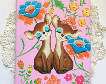 Kitsch Inspired Deer Shakers on a Floral Background Painting 8x10
