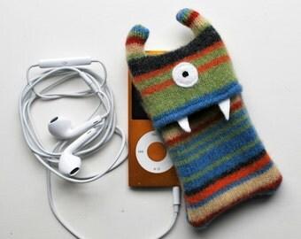 Multi Colored Stripey Monster iPod Nano or Shuffle Cozy