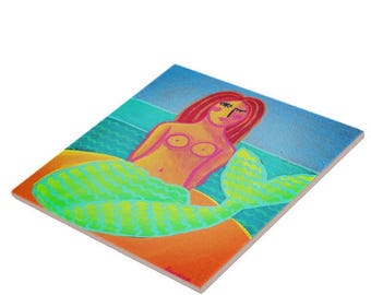 Red Haired Mermaid Abstract Painting Printed on Ceramic Tile