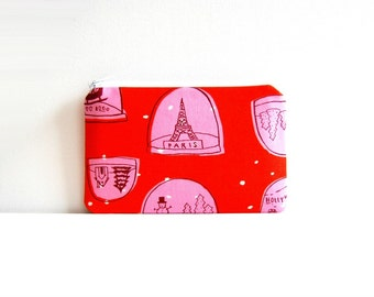 Coin Purse, Small Zipper Pouch, Women and Teens, Gift For Her, Snowglobes in Red, Tinsel Collection by Cotton + Steel