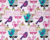 Michael Miller Sing Sing Birds and Cages Fabric , Fat quarter, Half Yard or by the Yard,Sewng Fabric, Quilting Fabric, Clothing Fabric, #123