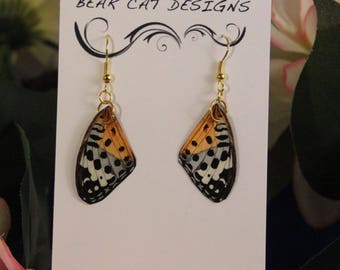 Natural Black, White, Grey, Gold ღ Faux Butterfly Wing Earrings